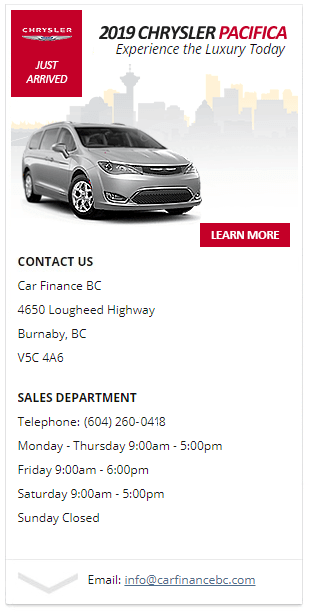 Get quick and easy financing - 2019 Chrysler Pacifica in Burnaby