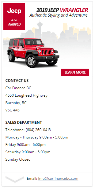 Get quick and easy financing - 2019 Jeep Wrangler JK in Burnaby