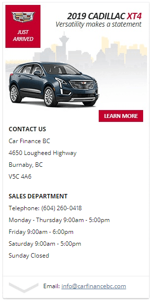 Get quick and easy financing - 2019 Cadillac XT4 in Burnaby