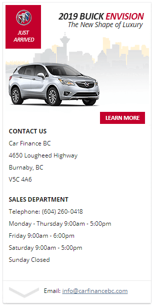 Get quick and easy financing - 2019 Buick Envision in Burnaby